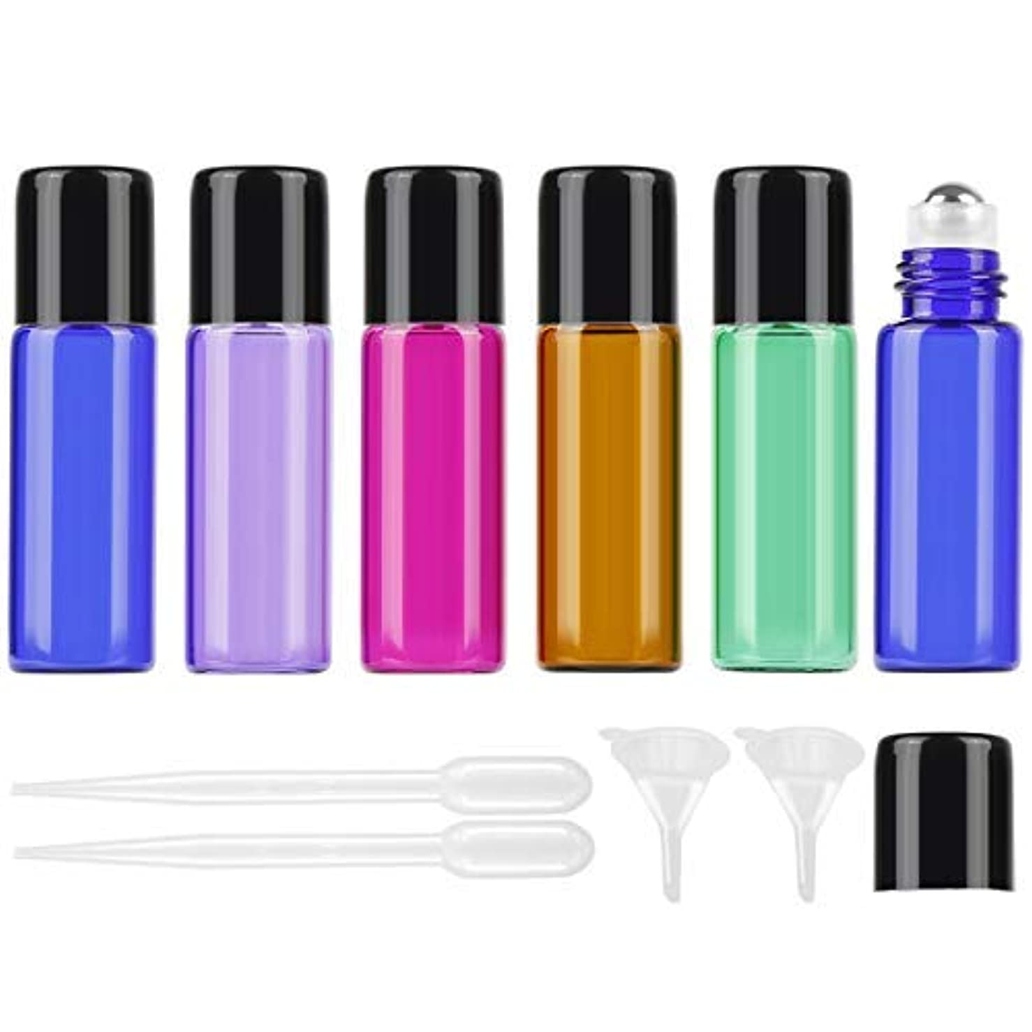 スロット器用メディック25Pcs 5ml Colored Essential Oil Roller Bottles Vials Glass Cosmetic Travel Containers with Stainless Steel Roller...