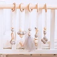 Okawari Home 嬰兒健身房 玩具 木制 自然 嬰兒車用玩具 北歐風 吊床 益智玩具 5個套裝 壁掛裝飾 兒童房 出生賀禮 新生兒 生日 禮物 禮物 禮物