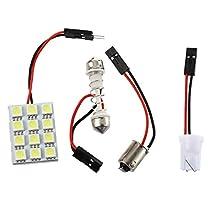 SODIAL(R)12 SMD 5050ホワイト LEDパネル室内照明ランプT10+ BA9Sソケットソケット+花綱アダプタ