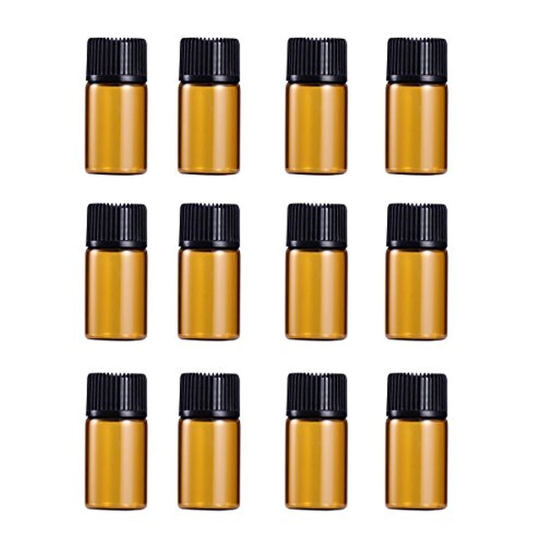 FRCOLOR 遮光瓶 アロマオイル 精油 小分け用 遮光瓶セット アロマボトル 保存容器 エッセンシャルオイル 香水 保存用 詰替え ガラス 茶色(12個入り 1ml)