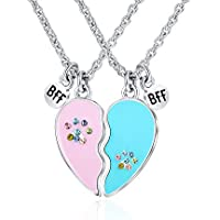 Tarsus BFF Necklace for 2 Best Friend Bestfriend Paw Print Broken Heart Charm Birthday Necklaces Jewelry Gift Set for Teen Little Girls Boys Kids Children