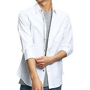 インプローブス 綿麻 シャツ ウッド調ボタン スリム ストレッチ パナマ織りシャツ メンズ B 7分袖 ホワイト L サイズ
