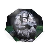 折りたたみ傘 自動開閉 折り畳み傘 8本骨 ワンタッチ 孤独な悲しいオランウータン 傘 かさ メンズ レディース 耐風傘 撥水性 丈夫 大きい 晴雨兼用 雨具