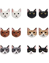 MJARTORIA Cat Stud Earrings set cute animal Earrings jewelry for women Kids girls