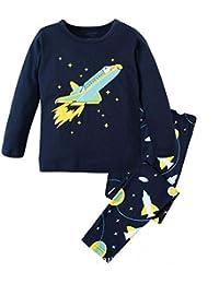 1dfbfe8108542 ... Babyfashion 綿100% 子供パジャマ ルームウェア キッズ 女の子 男の子 上下セット 宇宙船柄