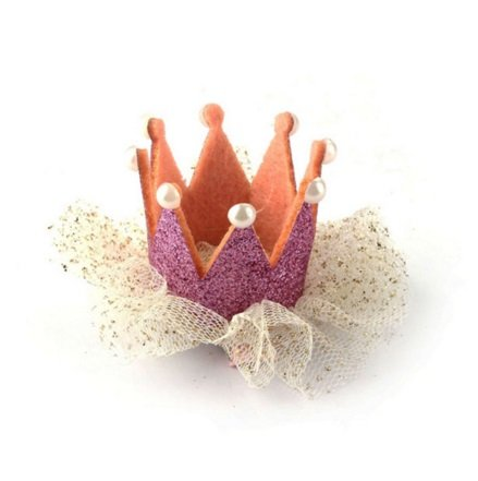【macaroni(マカロニ)】ベビー・キッズ用 ミニ王冠クリップ カラー4色 お誕生日、100日など記念日、寝相アートに (2 ピンクメタリック)