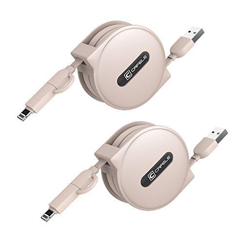 CAFELE 2in1ケーブル リール式充電ケーブル 1.5m コンパクト 充電 高速データ転送 Lightning・MicroUSB 2本セット 巻き取り式USBケーブル(トゥーハオ金)