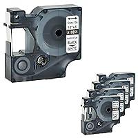 """NineLeaf 5 PKはDYMO 18055と互換性がありますRhino熱収縮チューブ業界LabelTriterとインダストリアルラベルメーカーのためのラベルテープ1/2""""x 5フィートブラックRhino 1000 3000 4200 5000 5200 6000 450 Duo"""