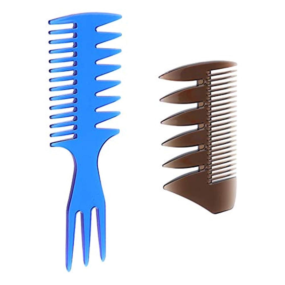 騙す変成器相対的gazechimp 3-in-1櫛 2-in-1櫛 ヘアサロン 髪の櫛 静電気防止櫛 2個