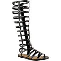 Fashion Thirsty Womens Cut Out Gladiator Sandals Flat Knee Boots Strappy