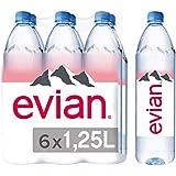Evian Natural Mineral Water, 6 x 1.25L Bottles