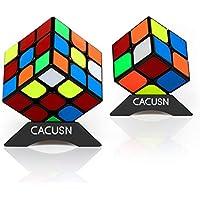 CACUSN 進化型スピードキューブ 競技用 2個セット 回しやすい 立体パズル ver.2.0世界基準配色 パズルスタンド付き