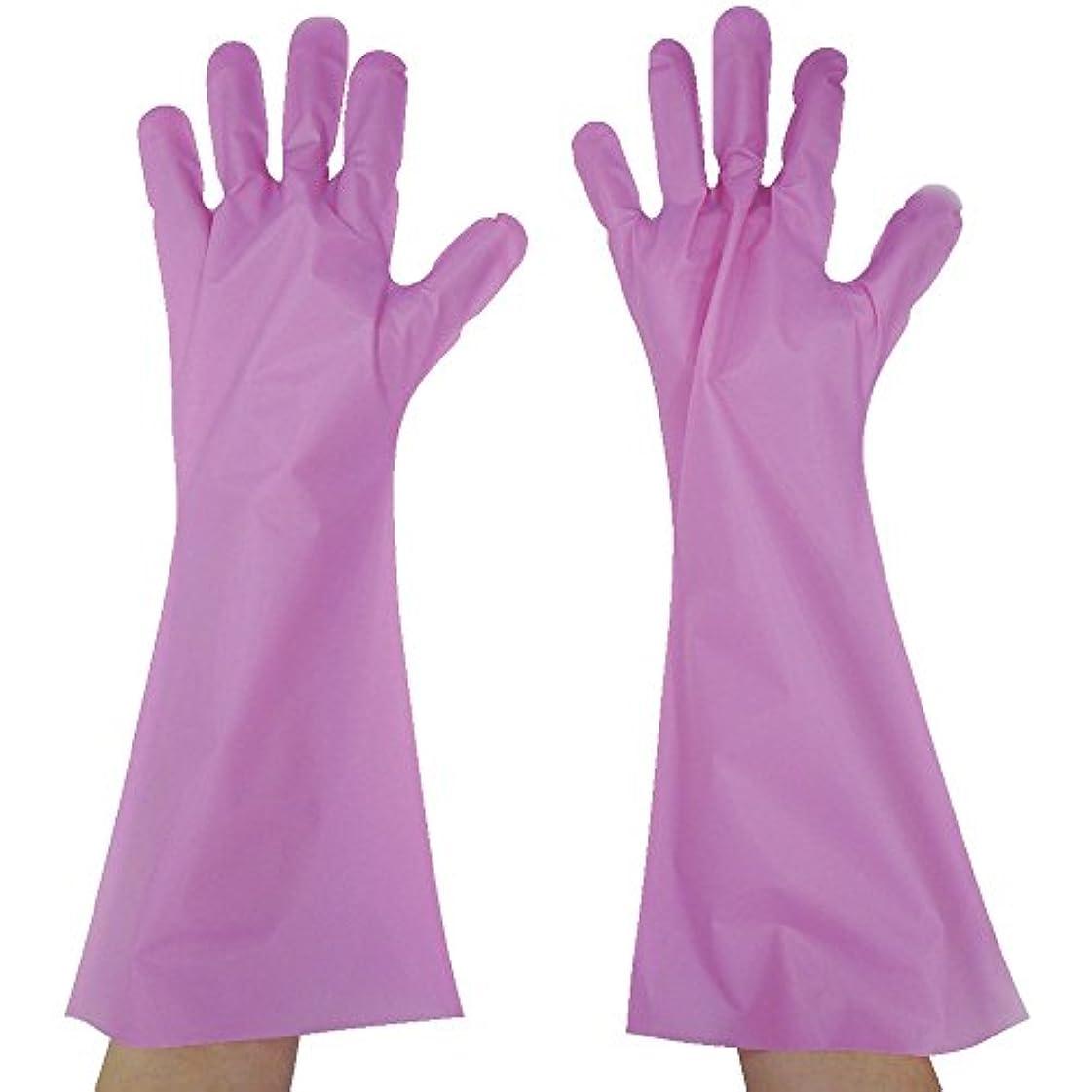東京パック エンボス手袋ロング五本絞り ピンク L PL45L ポリエチレン使い捨て手袋