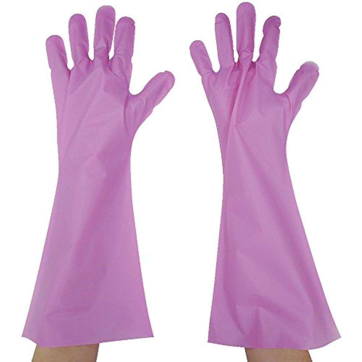 吸収剤患者むちゃくちゃ東京パック エンボス手袋ロング五本絞り ピンク L PL45L ポリエチレン使い捨て手袋
