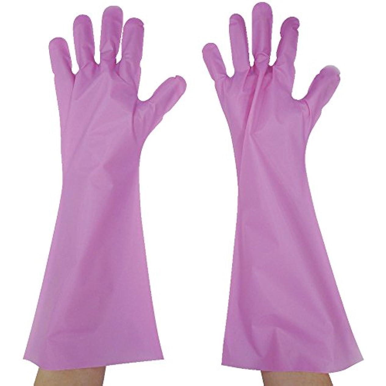 うなずくいつか技術東京パック エンボス手袋ロング五本絞り ピンク L PL45L ポリエチレン使い捨て手袋