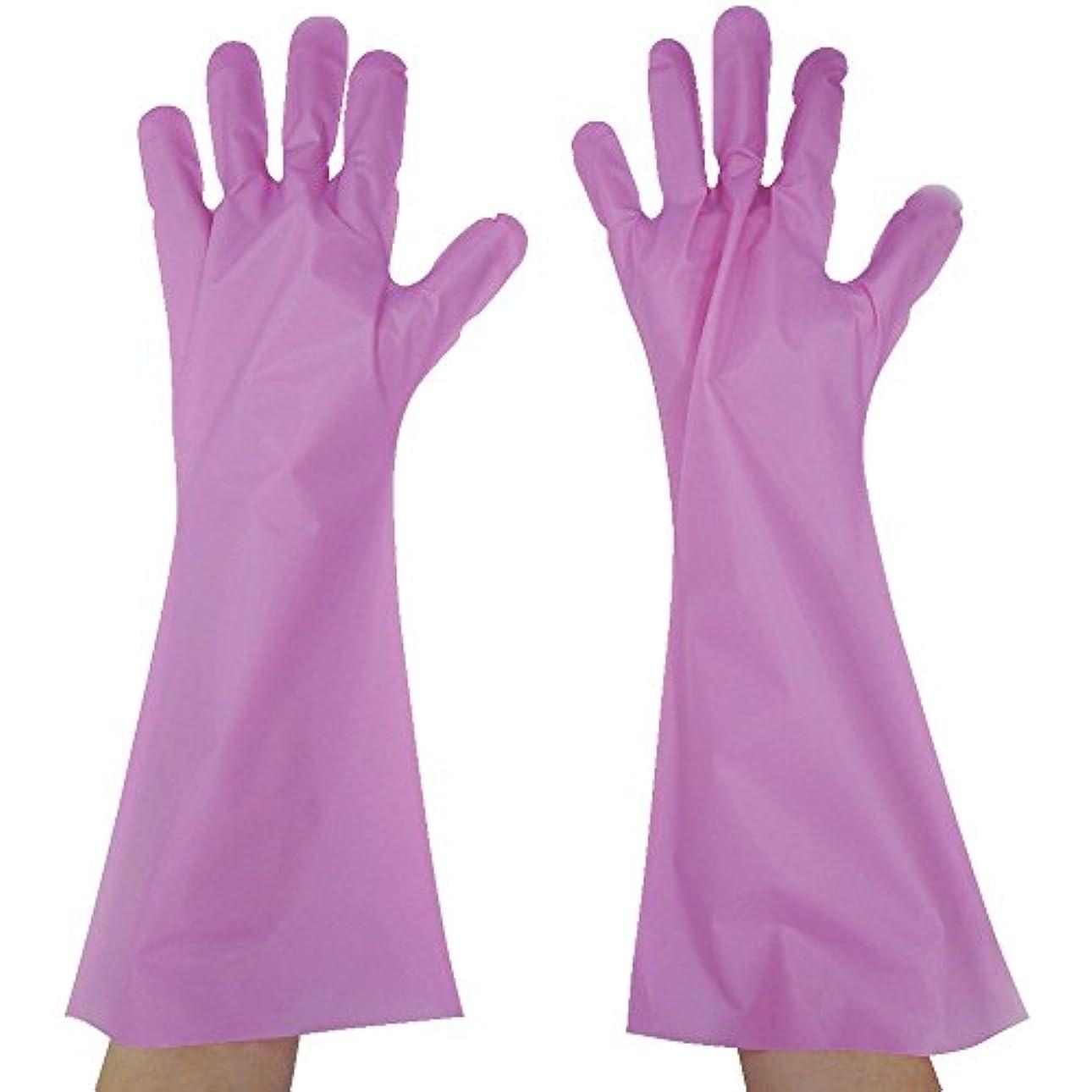 不正確カストディアン美的東京パック エンボス手袋ロング五本絞り ピンク L PL45L ポリエチレン使い捨て手袋