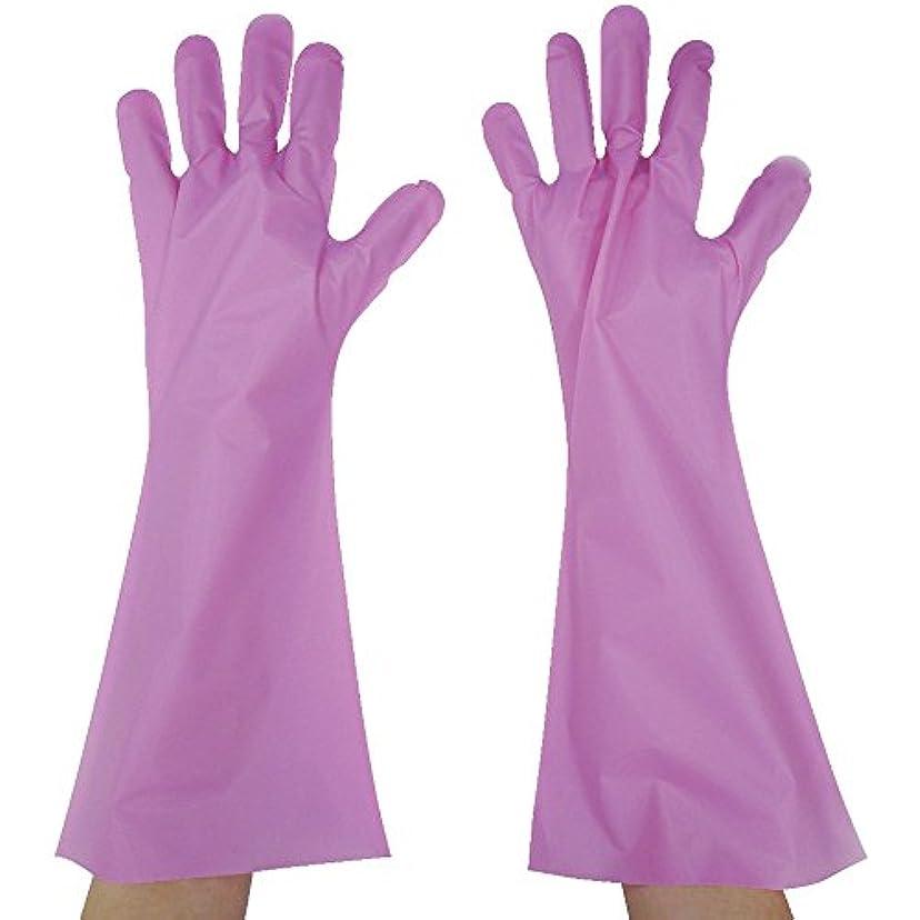 分岐する不実大胆な東京パック エンボス手袋ロング五本絞り ピンク L PL45L ポリエチレン使い捨て手袋