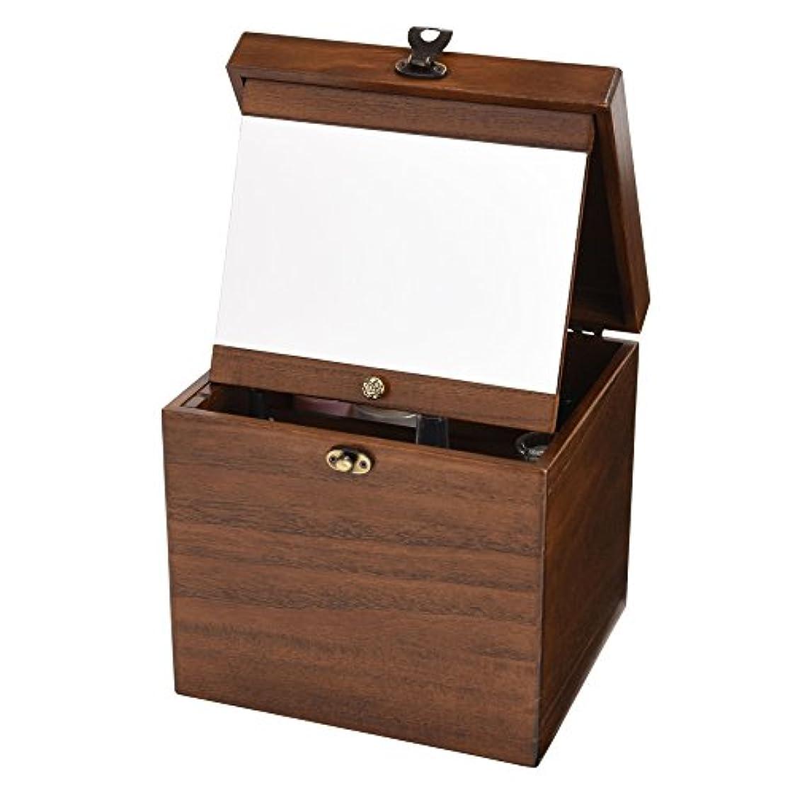 ひねりフレッシュ分解する木製コスメボックス 収納 鏡付き 持ち運び 化粧ボックス メイクボックス 日本製