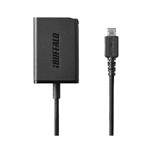 iBUFFALO USB充電器 2.4A急速 microUSB1.8m 高耐久ファブリックケーブル ブラック BSMPA2401BC1BK