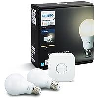 Philips Hueホワイトa1960W相当調光機能付きLEDスマートライト電球スターターキット、2a1960Wホワイト電球と1ブリッジ、Works with Alexa、アップルHomeKit、アシスタントGoogle、(カリフォルニア住民)