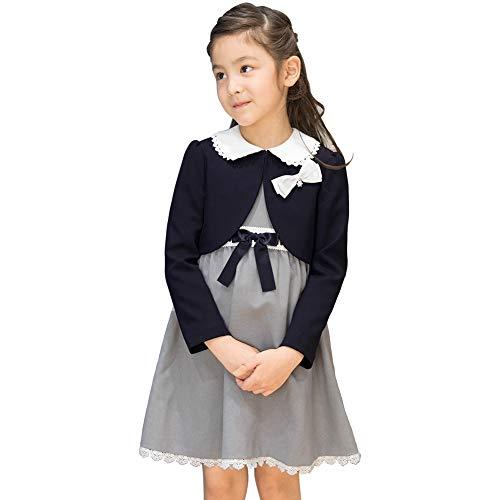 ショパン(CHOPIN) 入学式 女の子 卒園式 スーツ 8791-9303 清楚な雰囲気の梯子レースアンサンブル 115 120 130cm (ネイビー, 115)