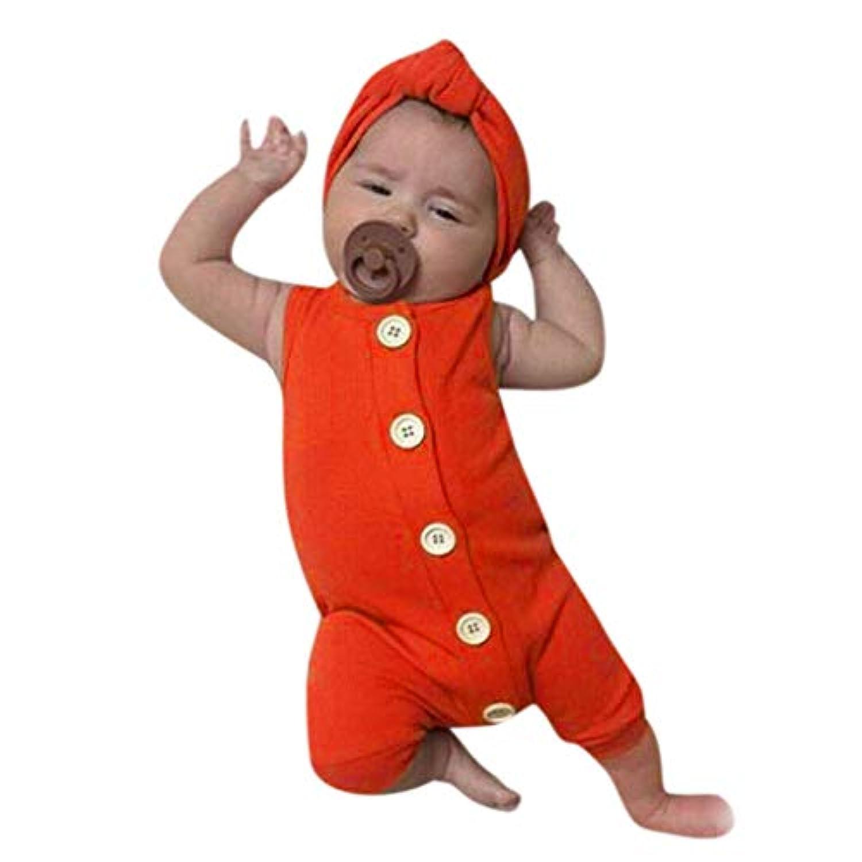洋子ちゃん 新生児 夏服 ノースリーブ無地 女の子 男の子 おしゃれ ボタン ワンピース ロンパース+ヘッドバンド 2点セット ジャンプスーツ かわいい 肌着 70 80 90 100 3-24か月