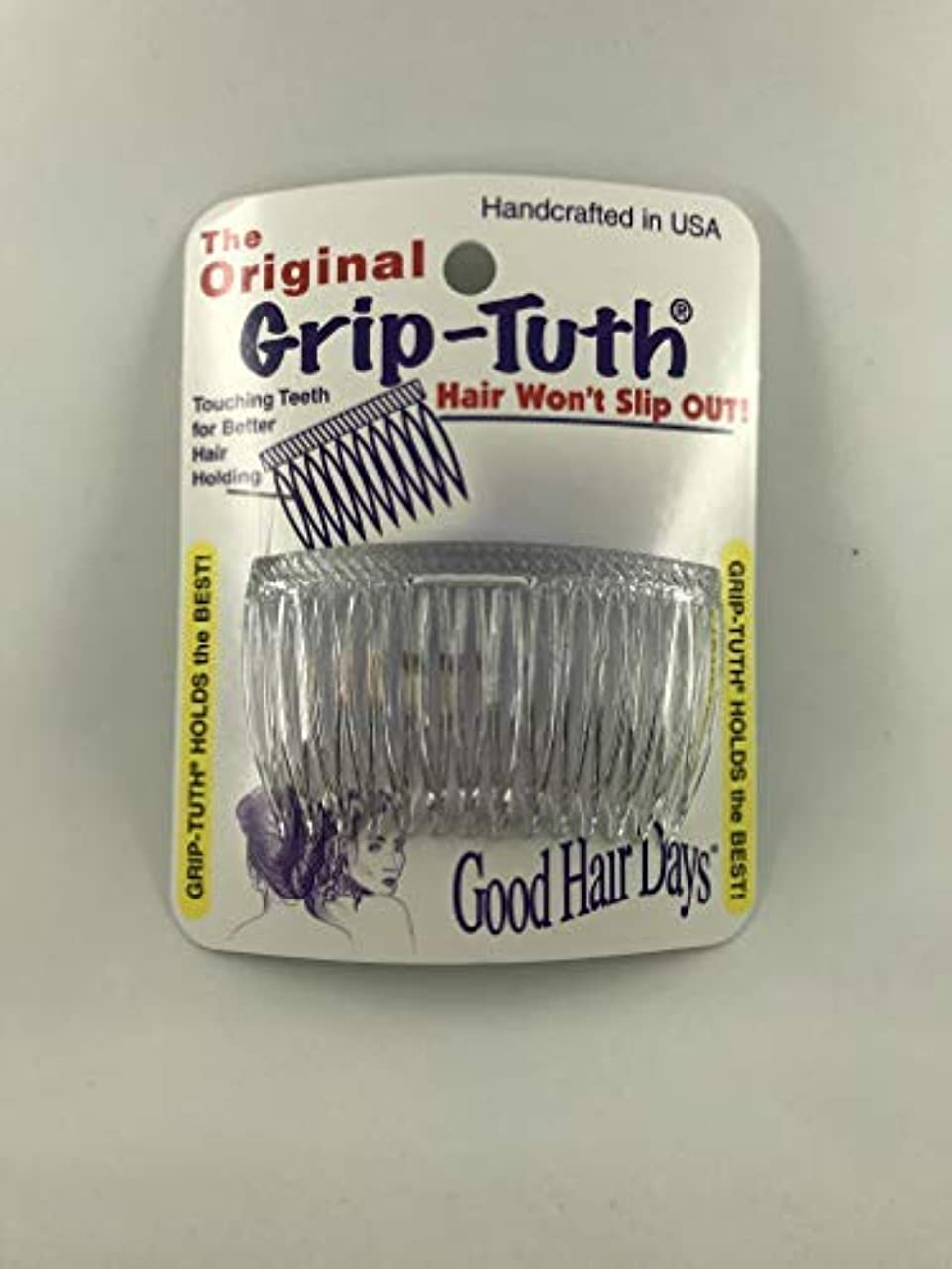 Good Hair Days Grip Tuth Combs 40414 Set of 2, Clear 2 3/4