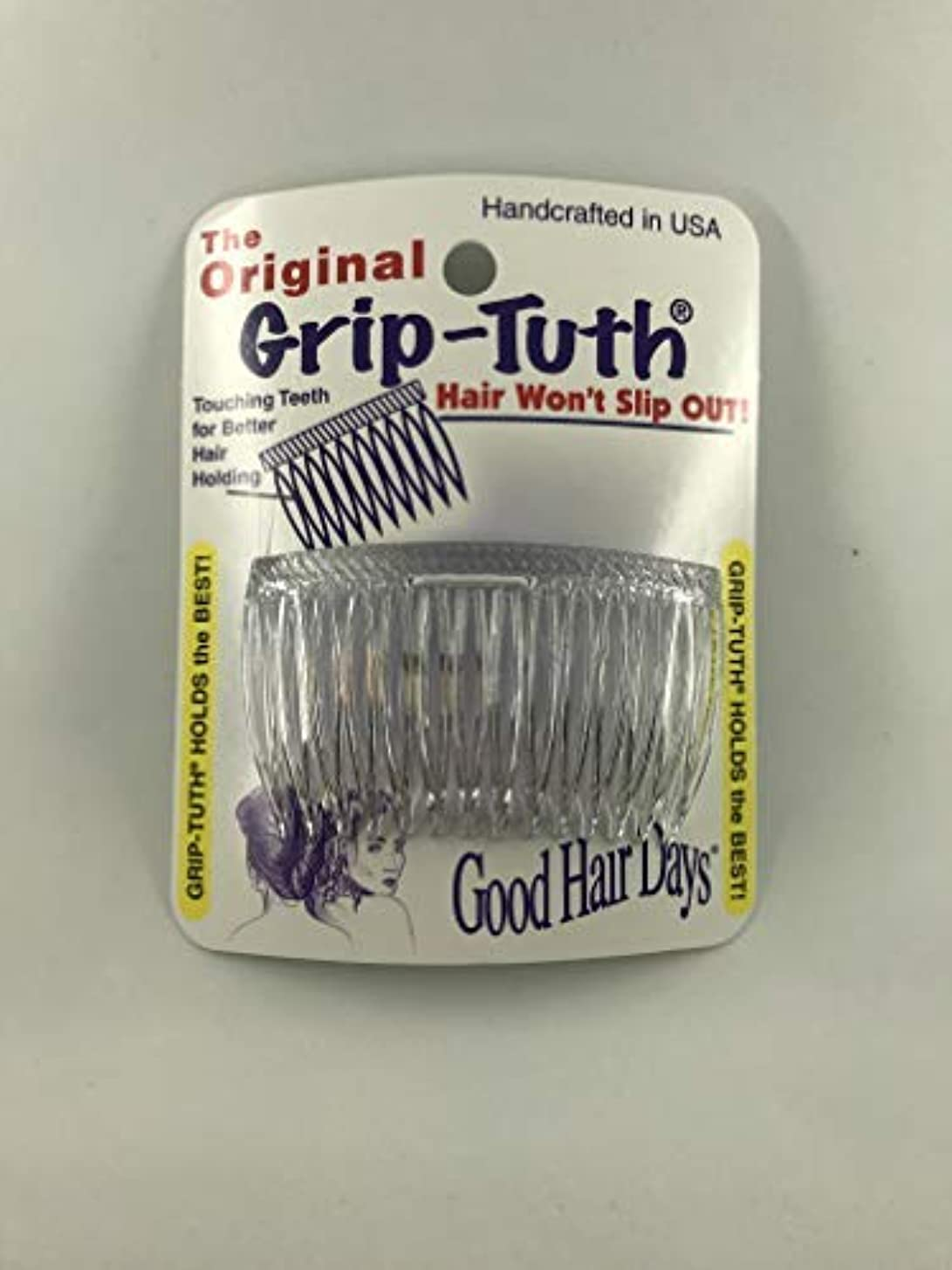 かび臭い手術日食Good Hair Days Grip Tuth Combs 40414 Set of 2, Clear 2 3/4