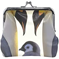 がま口 小銭入れ 財布 ペンギンの家族 コインケース レザー製 丸形 軽量 人気 おしゃれ プレゼント ギフト 雑貨