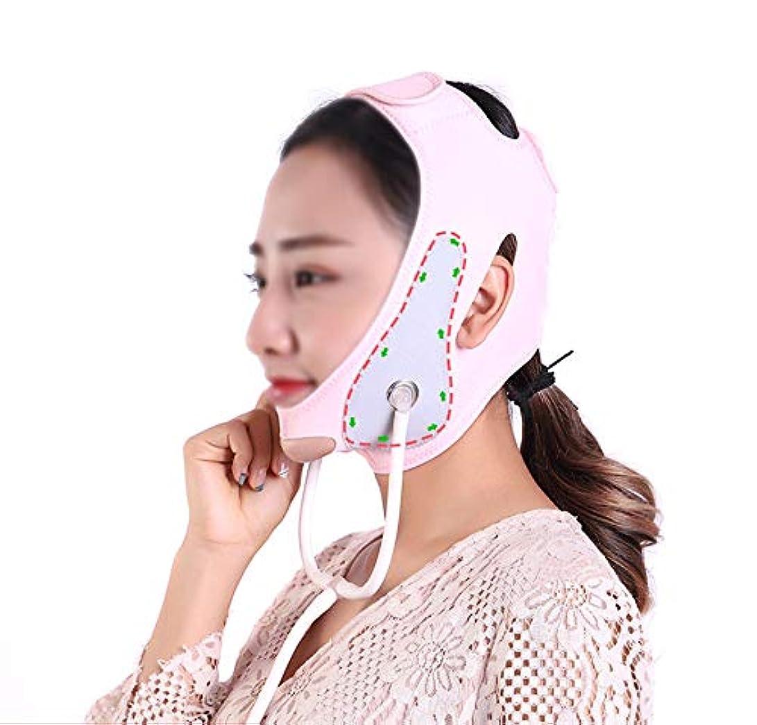 引く騒々しい動機付ける顔と首のリフト後伸縮性スリーブ薄いフェイスマスク引き締め肌改善マッサージリフティング収縮薄い顔弾性包帯V顔アーティファクト