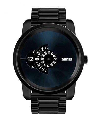 防水腕時計 メンズ ビジネス風 腕時計 大文字盤 ファション 合金制バンド クリスマスプレゼント 贈り物(ブラック)