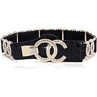 Stretch Belts for Women Luxury with Rhinestone Corlink Black Waist Belts