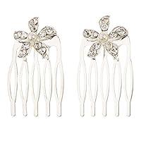 Perfeclan 1ペア ヘアクリップ 櫛 クリスタル ラインストーン 結婚式 人工真珠 ヘア装飾 クリップの櫛 花嫁 多仕様選べる - パールフラワー - シルバー