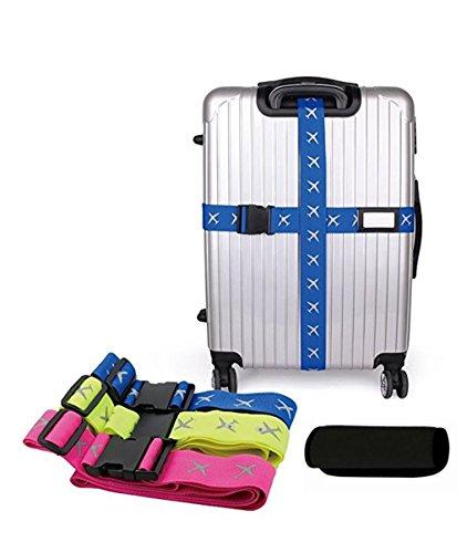 Orchidtent 蛍光風 スーツケースベルト 視認性抜群 目立つ度アップ 十字型 キャリーバッグ用 スーツケースハンドルカバー付き 国内旅行 海外旅行 出張 修学旅行 3色 (ブルー)