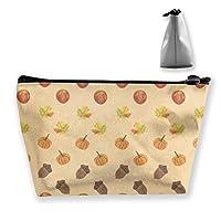 秋のフルーツ柄の女性化粧品バッグ多機能トイレタリーオーガナイザーバッグ、ハンドポータブルポーチトラベルウォッシュストレージ容量ジッパー付き(台形)