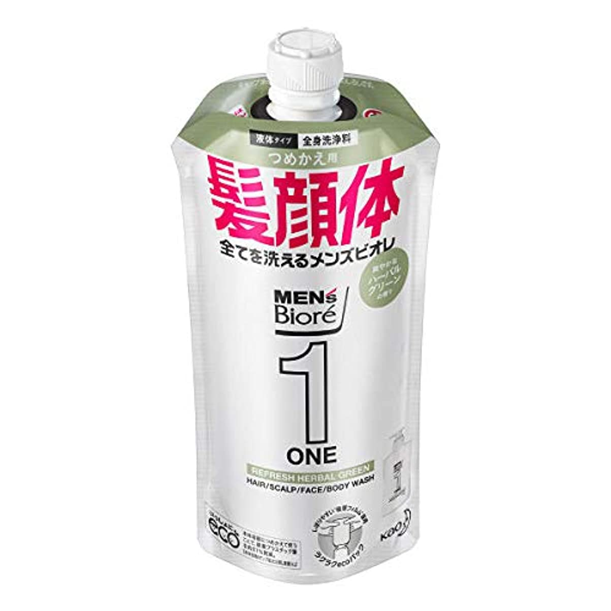 達成別々に合理的メンズビオレONE オールインワン全身洗浄料 爽やかなハーブルグリーンの香り つめかえ用 340mL