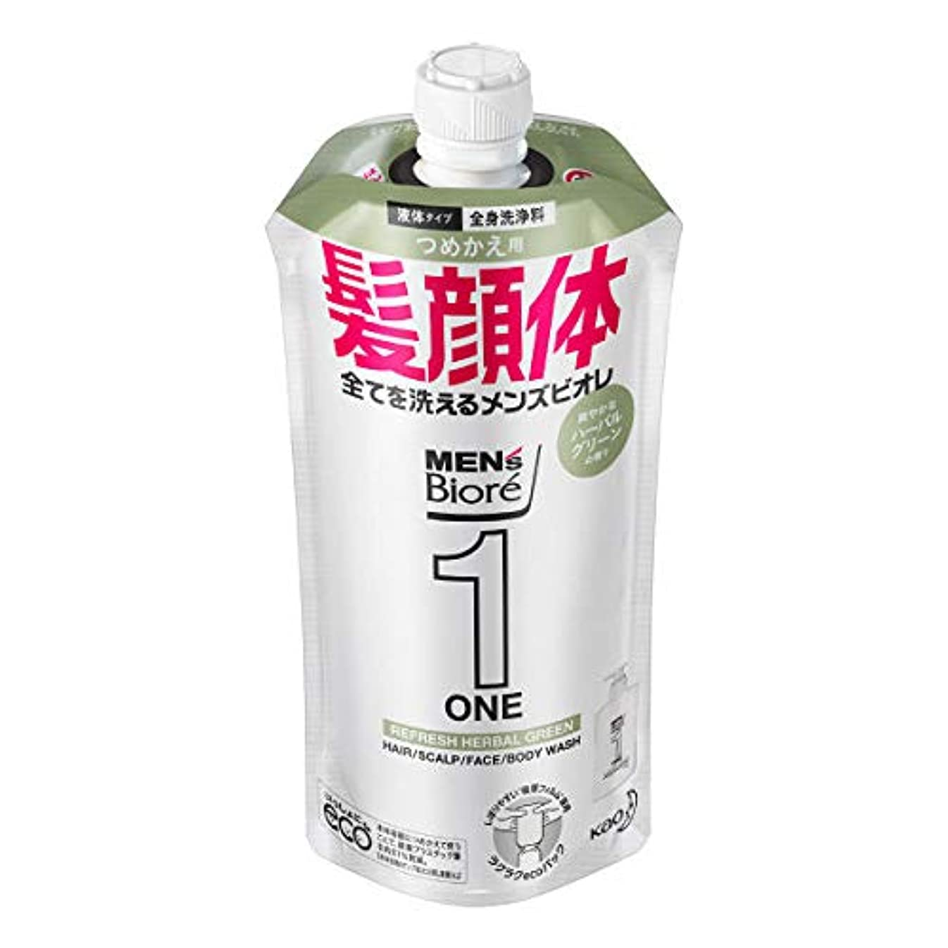 インタビューフリース回転するメンズビオレONE オールインワン全身洗浄料 爽やかなハーブルグリーンの香り つめかえ用 340mL