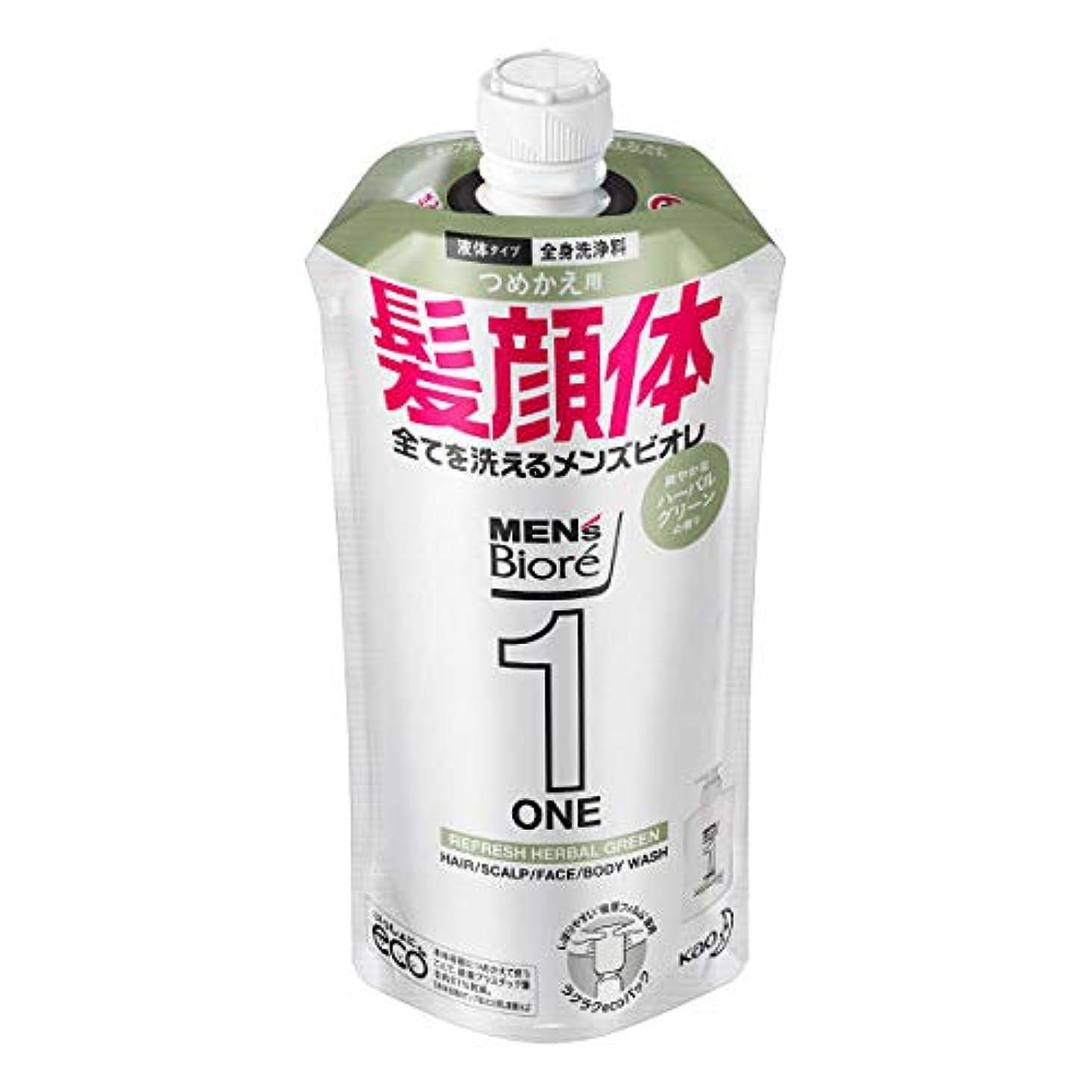 ダメージ台風調停者メンズビオレONE オールインワン全身洗浄料 爽やかなハーブルグリーンの香り つめかえ用 340mL