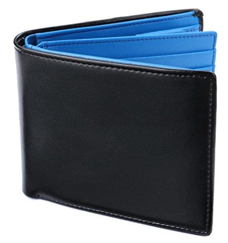 [レガーレ] 二つ折り財布 本革 大容量 カード15枚収納 カラー豊富 (ベロア化粧箱入り) 大容量2つ折り財布 ブラック×ブルー