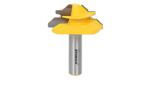 Yonico 15122 Large Lock Miter Router Bit with 45-Degree and 1-Inch Stock Shank
