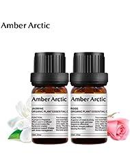 Amber Arctic ディフューザ 2×10 ミリリットル 用 ジャスミン 精油 セット、 100% 純粋 天然 アロマ エッセンシャル オイル バラ