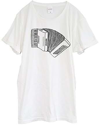 アコーディオンをデザインしたTシャツ【Down in the Seine】 バニラホワイト ユニセックス 半袖 (XS)