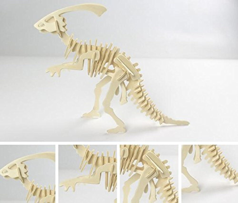 HuaQingPiJu-JP クリエイティブ木製3Dパズルアーリーラーニング恐竜おもちゃファンタスティックギフト(ダックマス)