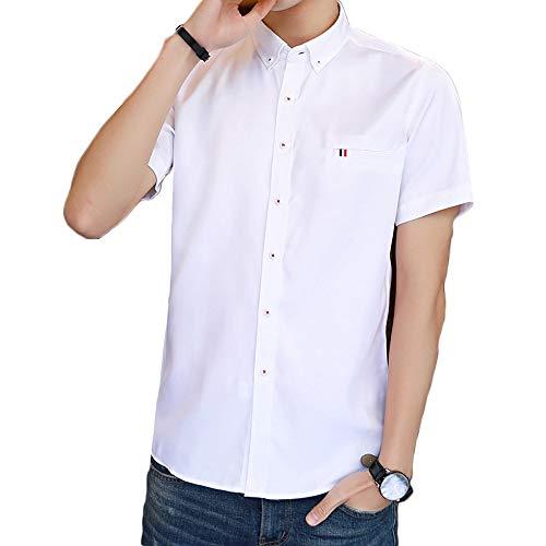 b4976f1c9b6c0b 半袖 シャツ メンズ 半袖 オックスフォード シャツ ボタンダウン ワイシャツ 無地 シャツ カジュアル オシャレ white Lの