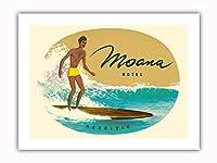 モアナホテル - ホノルル、ハワイ アメリカ合衆国 - ハワイアンサーファー - ビンテージな世界旅行のポスター c.1950s - プレミアム290gsmジークレーアートプリント - 30.5cm x 41cm