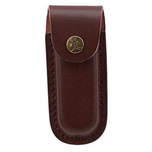 JIOLK ナイフケース 牛革 革の鞘袋ホルダー ボタン式 ...