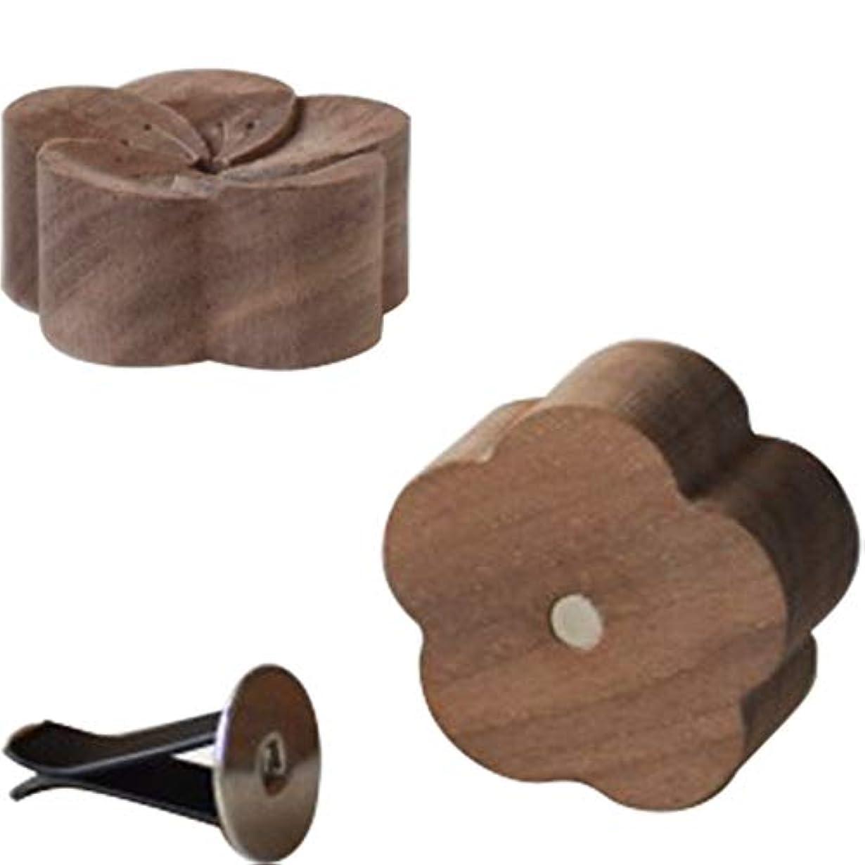 白い滑りやすい斧Umora 熱を使わず 簡易芳香器具 黒胡桃木梅花のアロマプレート アロマオイル 専用アロマディフューザー WOODタイプ 車載 安眠 瞑想 2個セット