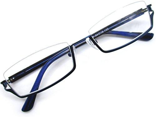 メガネ フレーム 逆 ナイロール アンダーリム 眼鏡 メタル 下ふち メンズ レディース 6698 (ブルー)