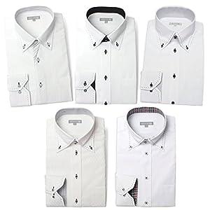 (ドレスコード101) 10サイズ展開でぴったりが見つかる。ワイシャツ 5枚セット ドレスシャツ 長袖(トップ芯加工) メンズ Yシャツ 白シャツ ボタンダウン セット M