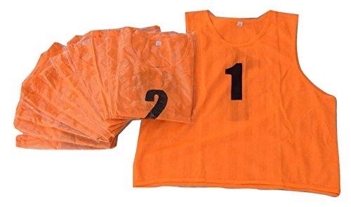 ユニフォーム ベスト ビブス 1番~12番 12枚入り サッカー フットサル 蛍光オレンジ